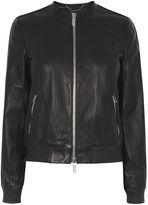 Karen Millen Leather Bomber Jacket