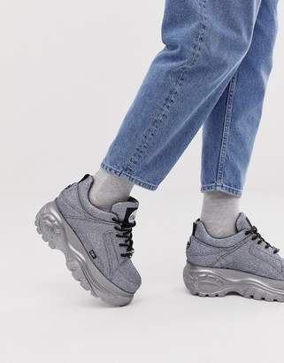 Buffalo David Bitton Classic chunky sole sneakers in silver glitter