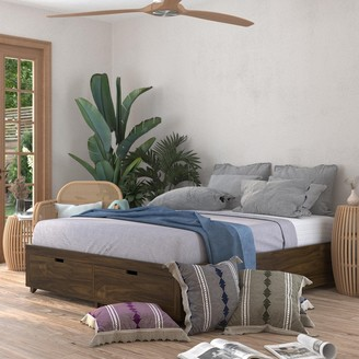 Kotter Home Solid Wood Walnut Platform Storage Bed