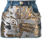 Philipp Plein denim tiger jacquard mini skirt - women - Cotton/Polyester/Spandex/Elastane - 25