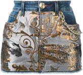 Philipp Plein denim tiger jacquard mini skirt - women - Cotton/Polyester/Spandex/Elastane - 25