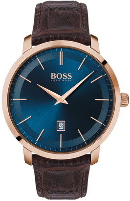 HUGO BOSS Men's Premium Classic Leather Strap Watch, 42mm