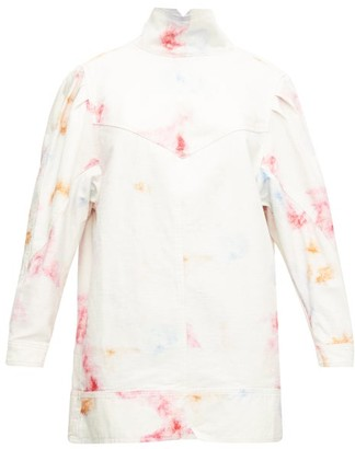 Isabel Marant Ervalia Tie-dye Denim Mini Dress - Womens - Ivory Multi