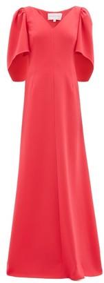 Carolina Herrera Cape-sleeve Crepe Palazzo Maxi Dress - Womens - Pink