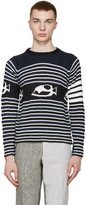 Thom Browne Navy & White Striped Fish Sweater