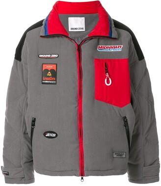 Ground Zero patch detail zip-front oversized coat