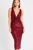 Skirt & Stiletto Red Knotted Sequin Dress
