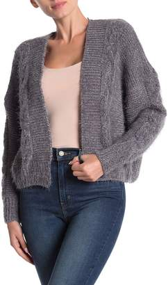 Woven Heart Eyelash Chenille Open Cardigan