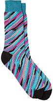 Barneys New York MEN'S BRUSHSTROKE-PATTERN COTTON-BLEND MID-CALF SOCKS-TURQUOISE, PURPLE