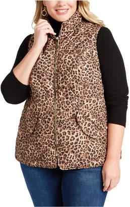 Charter Club Plus Size Leopard Print Puffer Vest