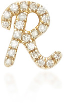 Sydney Evan Yellow Gold Customizable Single Initial Stud with Diamonds