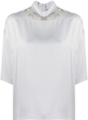 Fabiana Filippi Lace Collar Short Sleeve Blouse