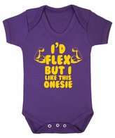 FLOSO Baby Girls/Boys I Would Flex But I Like This Onesie Short Sleeve Bodysuit (0-3 Months)