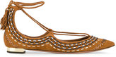 Aquazzura Brown Folk Christie Pointed Flats - women - Leather/Suede - 36