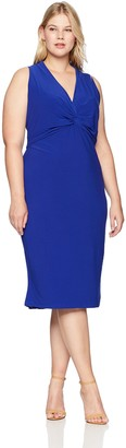 Maggy London Plus Size Women's Solid Knot Front midi Sheath