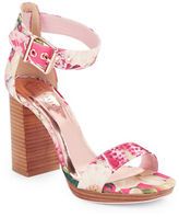 Ted Baker Lorno Stacked Block Heel Fabric Sandals