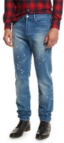 Givenchy Distressed Straight-Leg Jeans, Blue