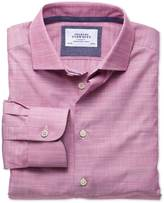 Charles Tyrwhitt Extra slim fit semi-spread collar business casual slub cotton pink shirt