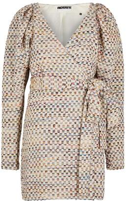 Rotate by Birger Christensen Cheked cotton-blend mini dress