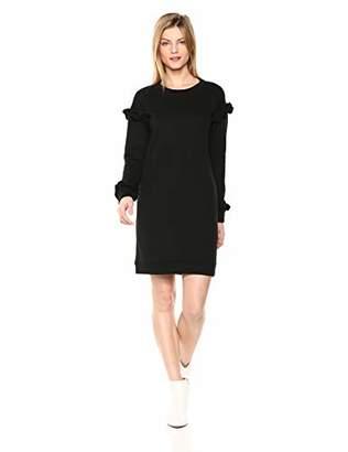 Cable Stitch Women's Ruffle Sleeve Sweatshirt Dress