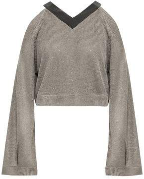 Brunello Cucinelli Cropped Cold-shoulder Embellished Linen And Silk-blend Sweater