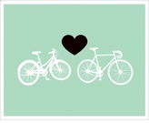 Limited Edition Print Bike Love - Light Green