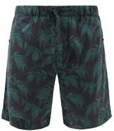 Desmond & Dempsey - Byron Print Cotton Pyjama Shorts - Mens - Navy Green