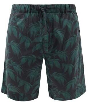 Desmond & Dempsey Byron-print Cotton Pyjama Shorts - Navy Green