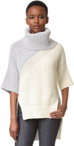 Derek Lam Bicolor Turtleneck Drop Shoulder Sweater