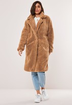 Missguided Petite Tan Oversized Borg Teddy Coat