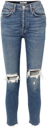 RE/DONE High-rise Ankle Crop Distressed Skinny Jeans