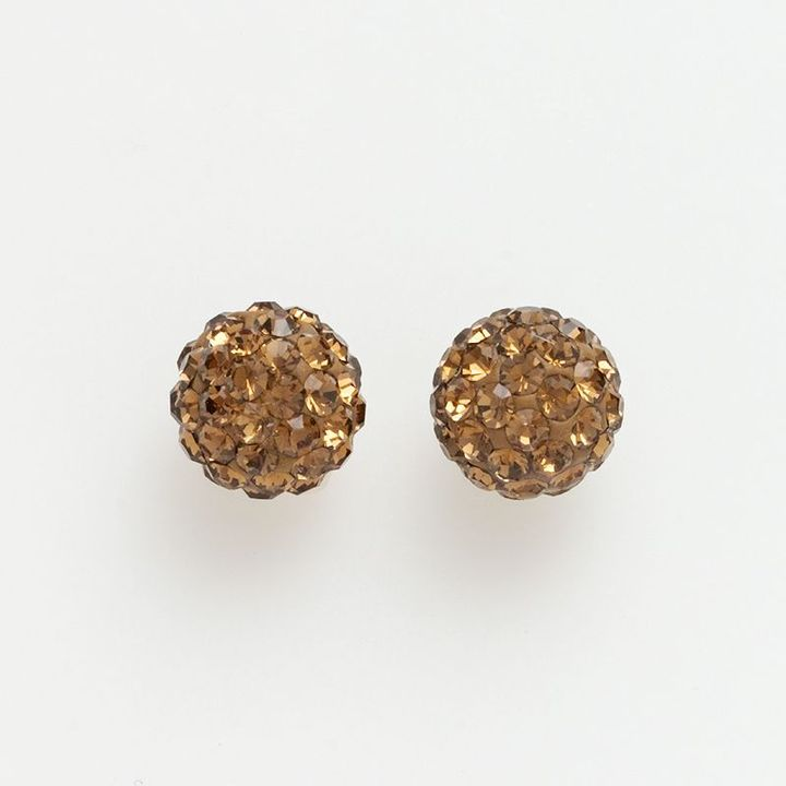 14k Gold Brown Crystal Stud Earrings