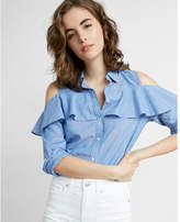 Express Stripe Ruffle Cold Shoulder Blouse
