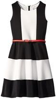 Us Angels Scuba Tank Dress w/ Color Block & Full Skirt (Big Kids)
