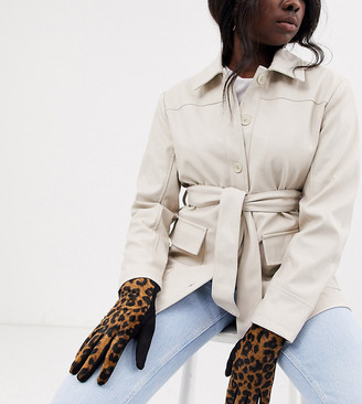 My Accessories London Exclusive leopard jersey touch screen gloves