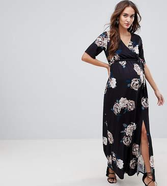 Asos Nursing NURSING Wrap Maxi Dress In Winter Rose Print-Multi