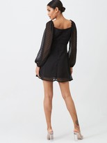 Missguided Dobby Milkmaid Long Sleeve Skater Dress - Black