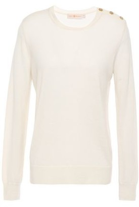 Tory Burch Logo-embellished Button-detailed Cashmere Sweater