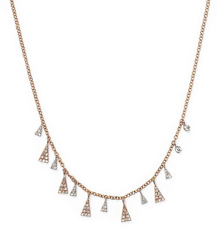 Meira T 14K White and Rose Diamond Triangles Necklace, 16""