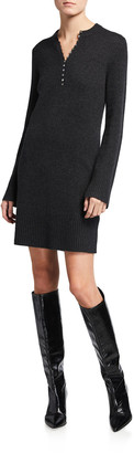 Theory Cashmere Henley Sweater Dress