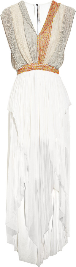 Willow Asymmetric beaded-overlay silk dress