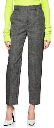 Balenciaga Women's Houndstooth-Weave Wool Carrot-Leg Trousers - Black