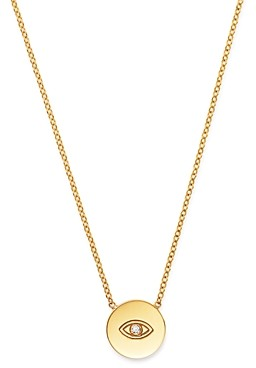 Zoë Chicco 14K Yellow Gold Midi Bitty Diamond Evil Eye Disc Pendant Necklace, 16-18