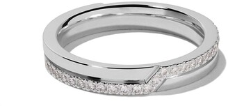 De Beers 18kt white gold Promise half pave diamond band