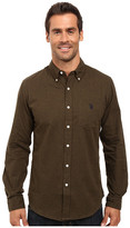 U.S. Polo Assn. Slim Fit Brushed Twill Button Down Collar Solid Woven Shirt