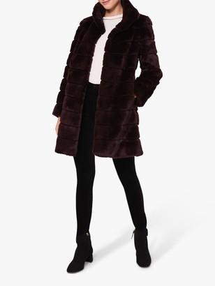 Hobbs Ros Faux Fur Coat, Dark Berry