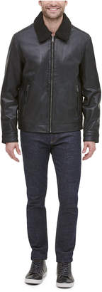Cole Haan Men Leather Aviator Jacket with Faux Sherpa Collar