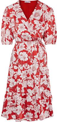 Rebecca Minkoff Mary Floral-print Satin-twill Wrap Dress