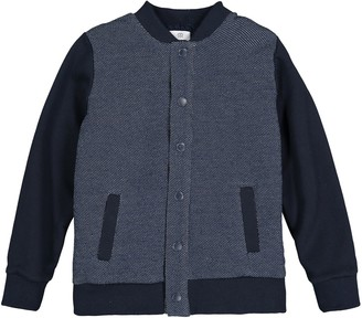 Cotton Press-Stud Bomber Jacket with Fluffy Lining, 3-12 Years