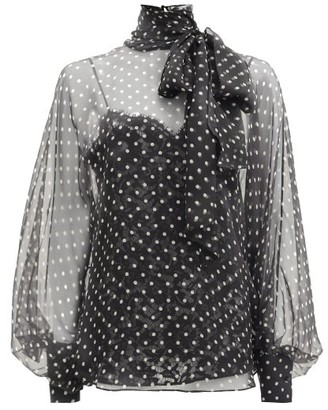Valentino Polka-dot Pussy-bow Georgette Blouse - Black White